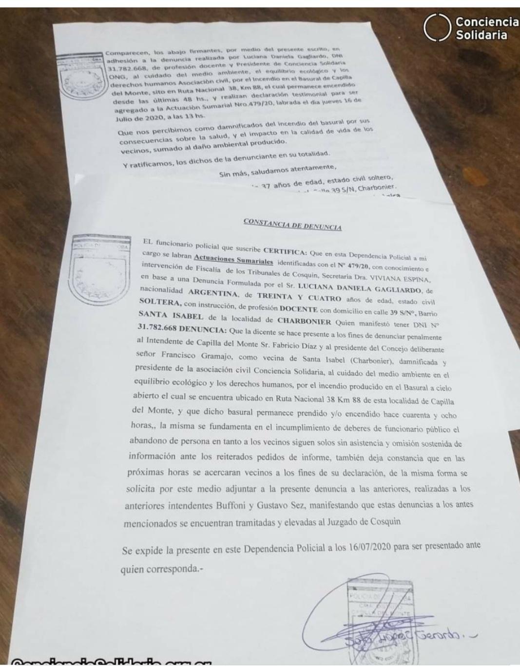 Capilla del Monte : Denuncian penalmente al intendente Diaz y al presidente del Concejo, por el incendio en el basural